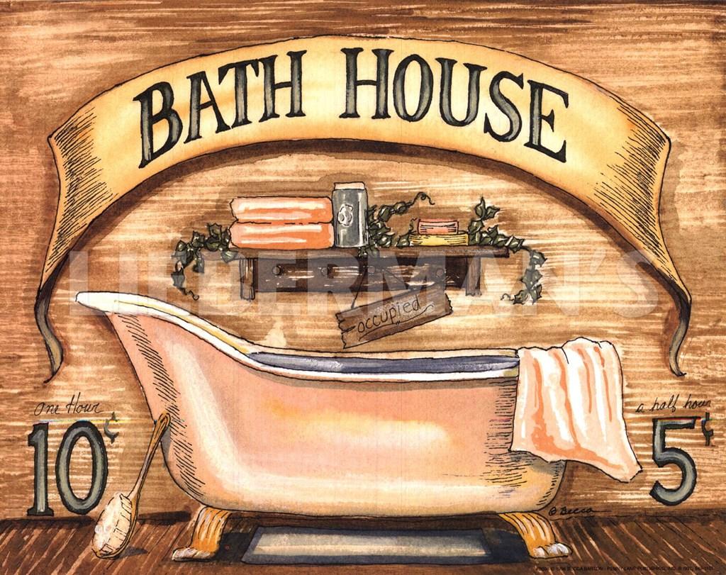 Bath House Fine Art Print By Becca Barton At Vintage Wall