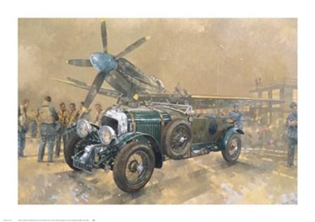 Bentley and Spitfire by Peter Miller art print