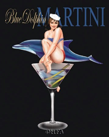 Blue Dolphin Martini by Ralph Burch art print