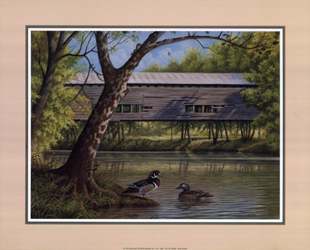 Covered Bridge With Ducks by Ron Jenkins art print