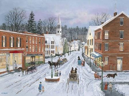 Main Street in Winter by Bob Fair art print
