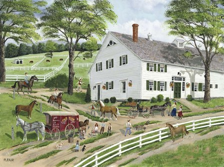 Trimming Hooves at the Stable by Bob Fair art print