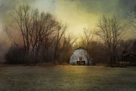 Blue Barn At Sunrise by Jai Johnson art print