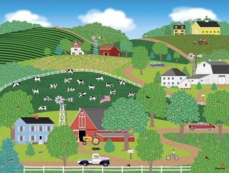 Farms Of Windy Hills by Mark Frost art print