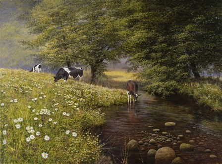 Cattle By The Stream by Bill Makinson art print