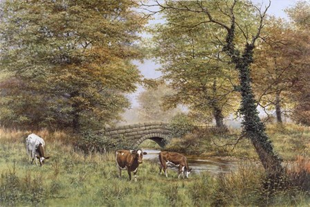 Cows By Bridge by Bill Makinson art print