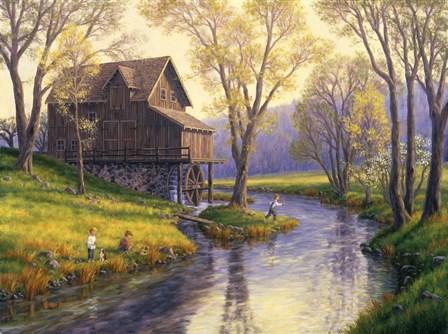 Fishing Mill Creek by Randy Van Beek art print