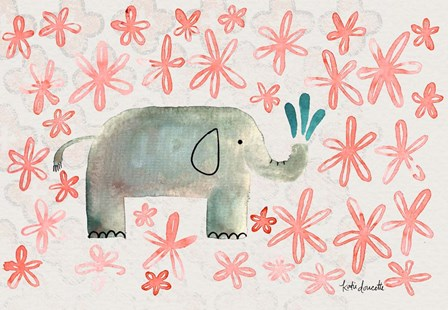 Floral Elephant by Katie Doucette art print