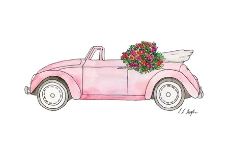 Pink Car with Roses by Elise Engh art print
