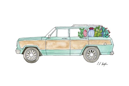 Wagoneer with Cactus by Elise Engh art print